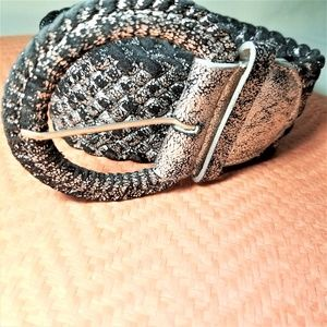 Wide Black and Silver Woven Statement Belt